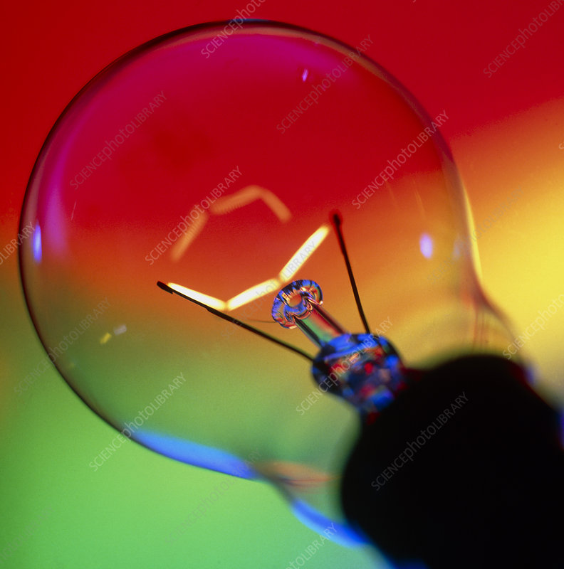 View of an lit electric light bulb