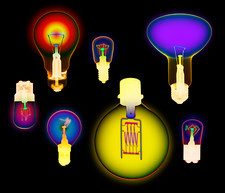 Coloured X-ray of assorted electric light bulbs