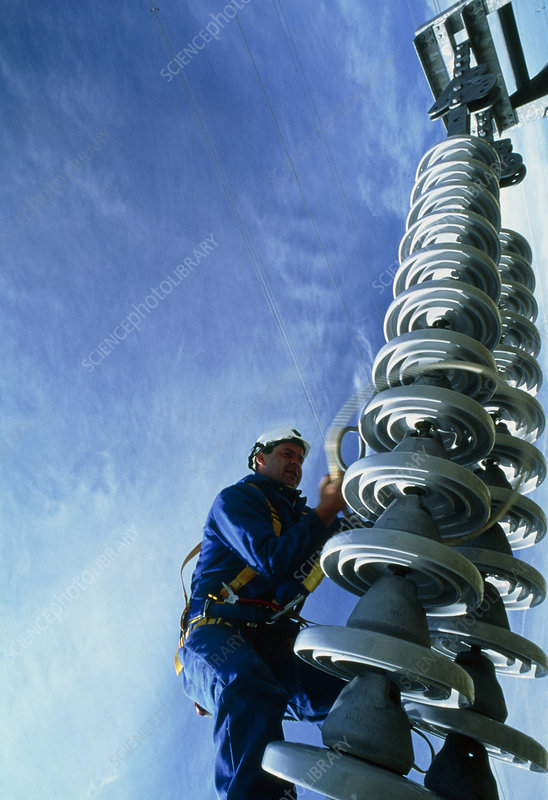 Technician servicing a power line insulator