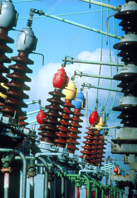 Electrical insulators and cables at power station