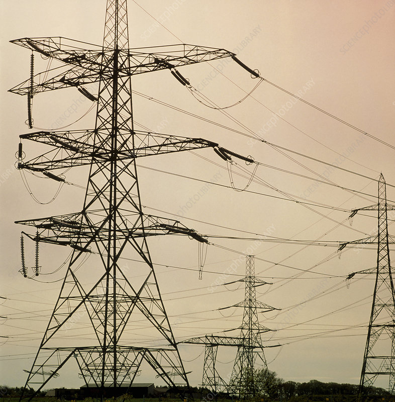 View of electricity pylons