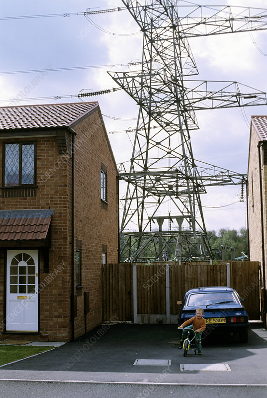 House near power lines - Stock Image T194/0615 - Science ...