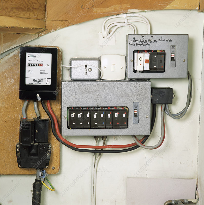 Electricity meter and fuse boxes