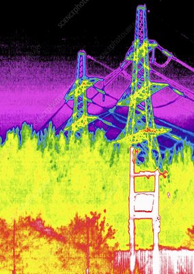 Electricity pylons, thermogram