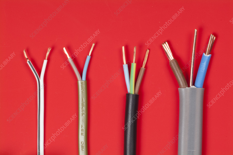 Types of electrical cables - Stock Image T194/0933 - Science Photo ...