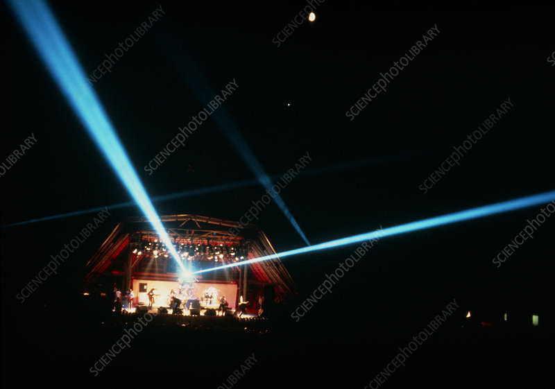Divergence of blue laser beams at pop concert