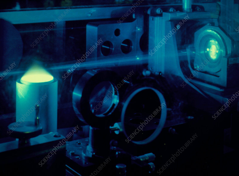 Blue laser used in Raman spectroscopy