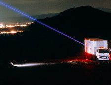 Lidar laser beam at night over Albuquerque, NM