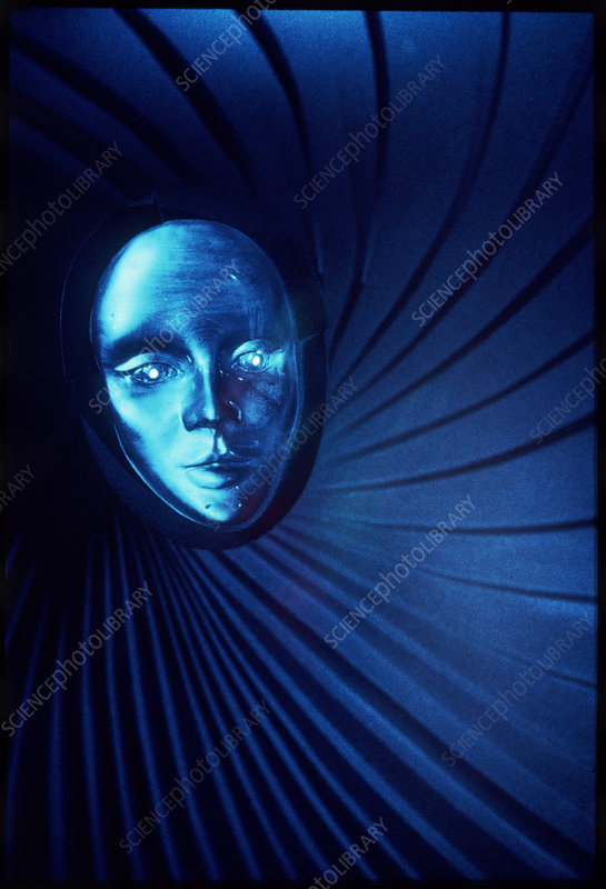 Hologram titled 'Woman's mask'