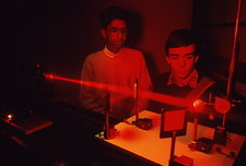 Undergraduate students with golf ball hologram