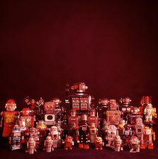 A collection of toy robots