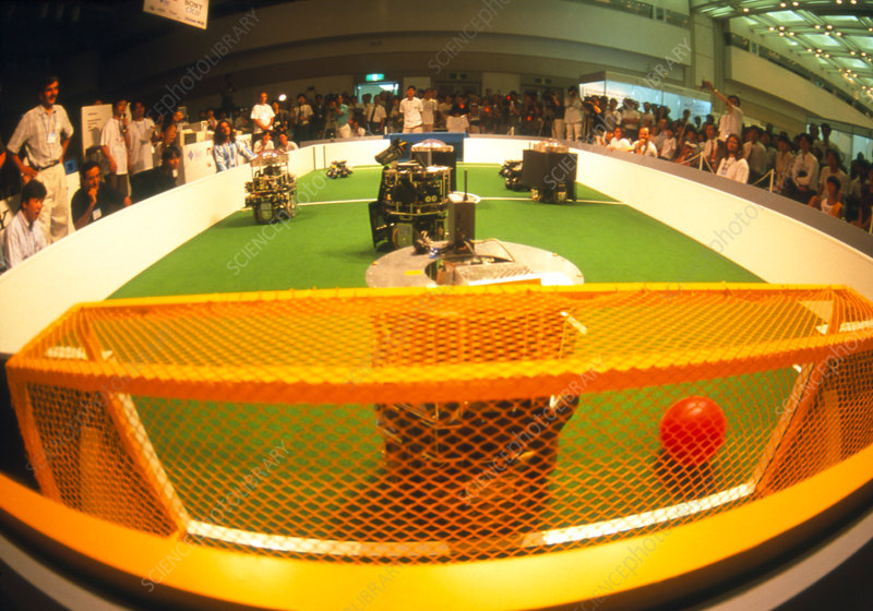 Robots play in the 1997 Robot Football World Cup