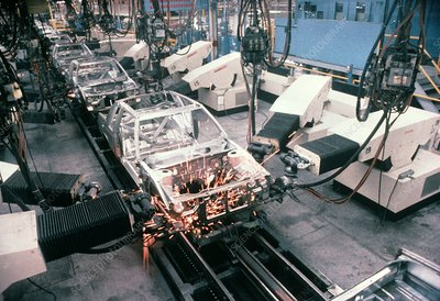 Welding robots at work for LeBaron cars