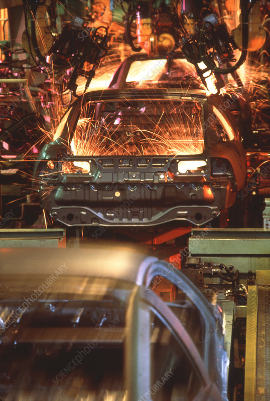 Robot welding in car manufacture plant