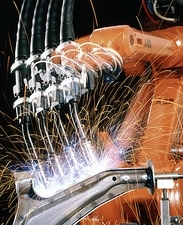 Robot welding in car production
