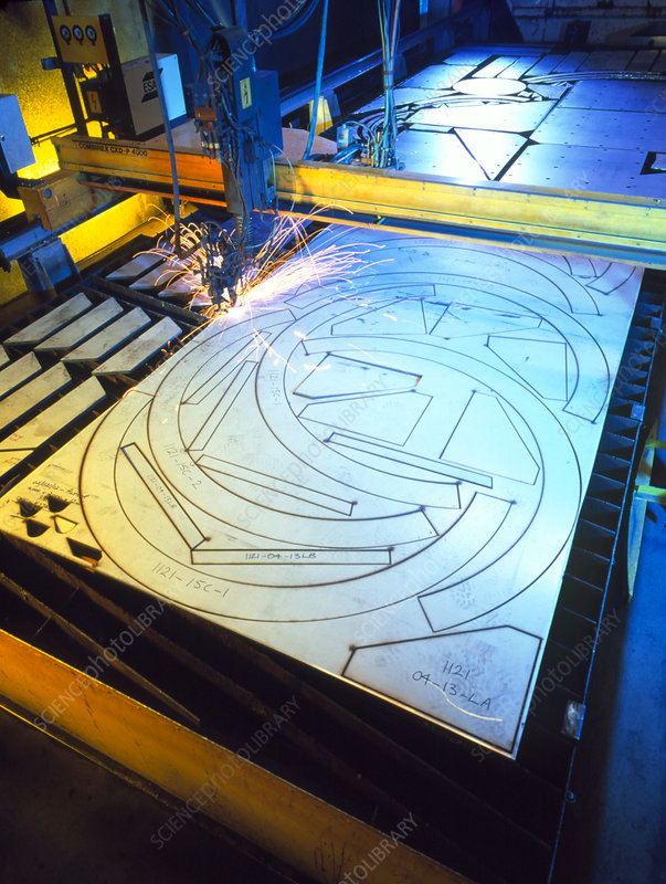 Computer-controlled robot cutting sheet metal