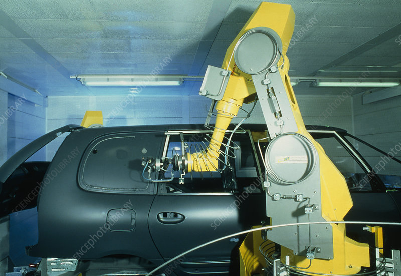 Robot arm using waterjet cutter for car production