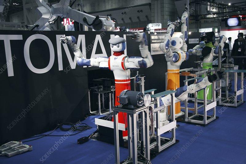 Industrial production line robots, Japan - Stock Image
