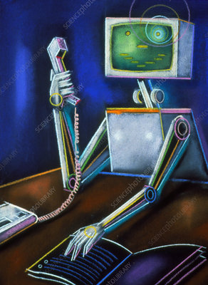 Abstract artwork of a robot using a telephone
