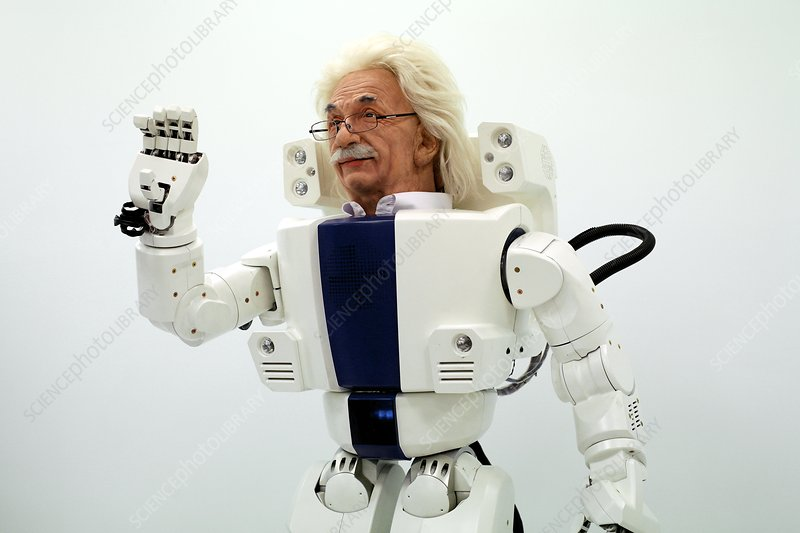 Robot Albert Einstein waving
