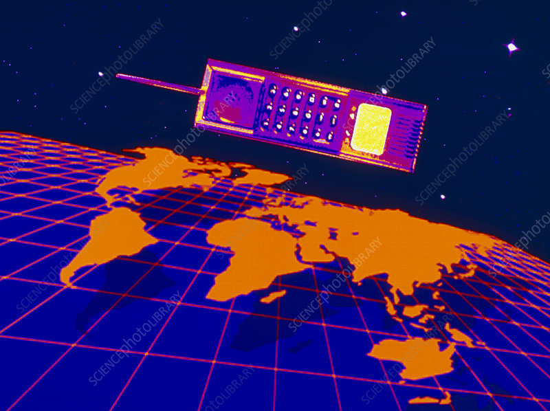 Computer graphic: mobile telephone over world map