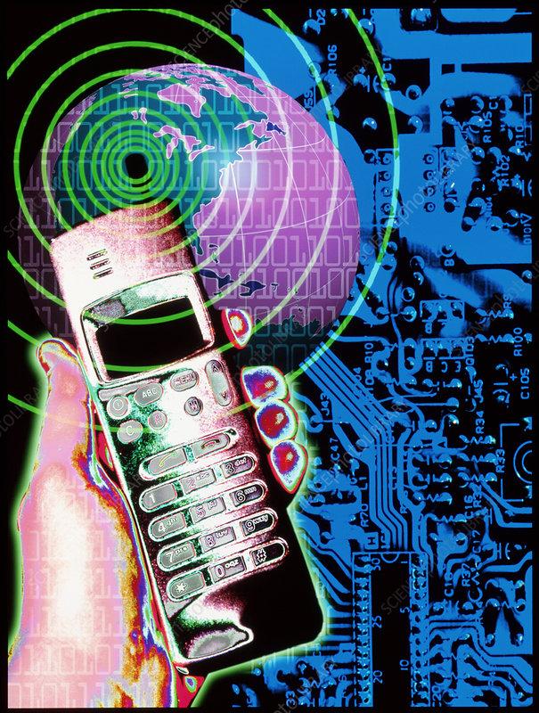 Artwork of mobile telephone, globe & circuit board