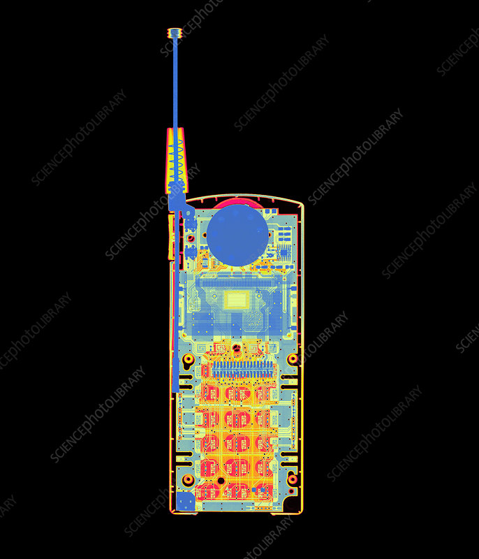 Coloured X-ray of a mobile telephone