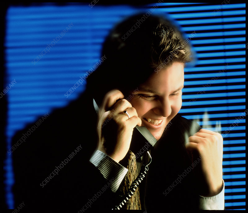 Businessman talking on a telephone in an office