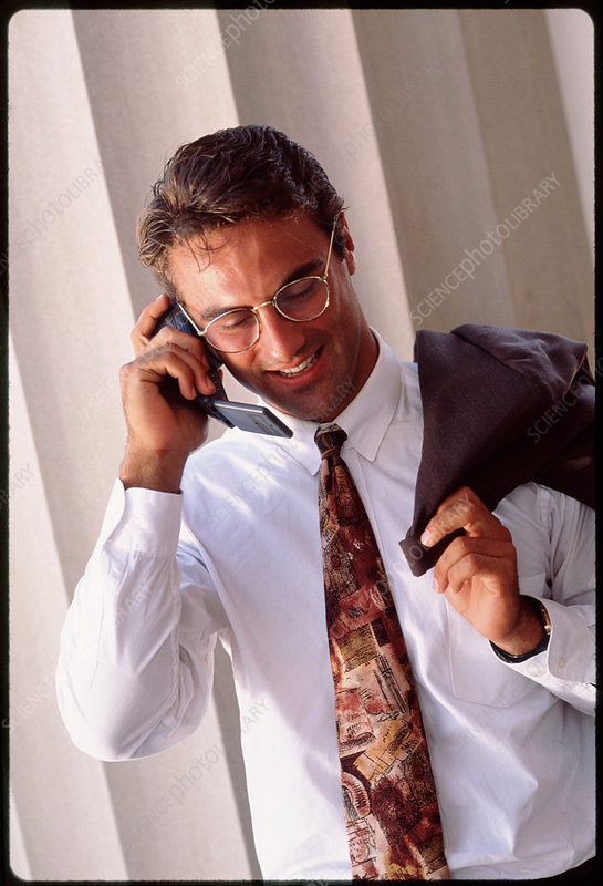 Businessman speaking on a mobile telephone