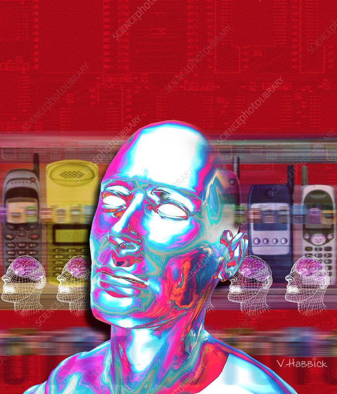 Computer artwork of man's head with mobile phones