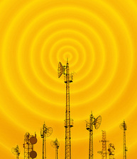 Radio masts with radio waves