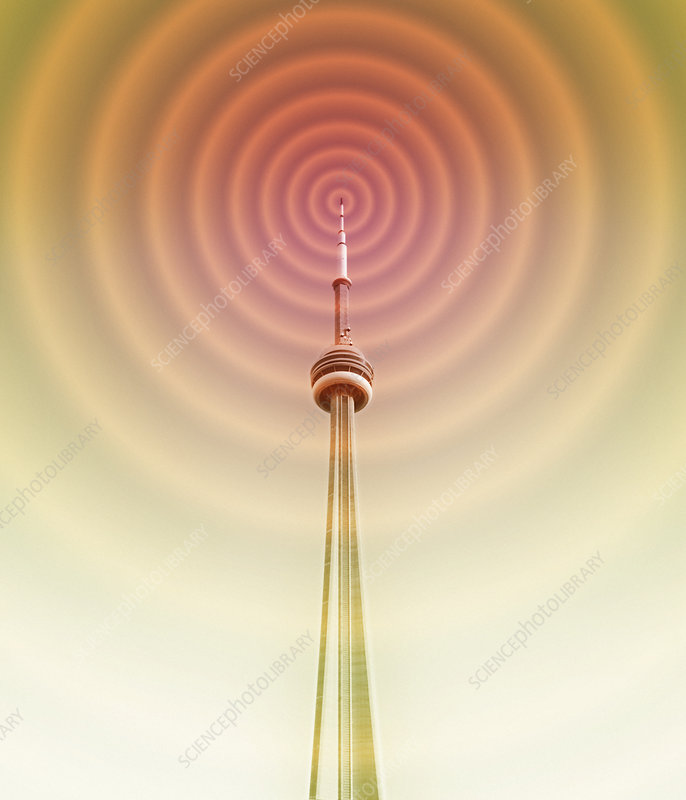 Radio tower with radio waves