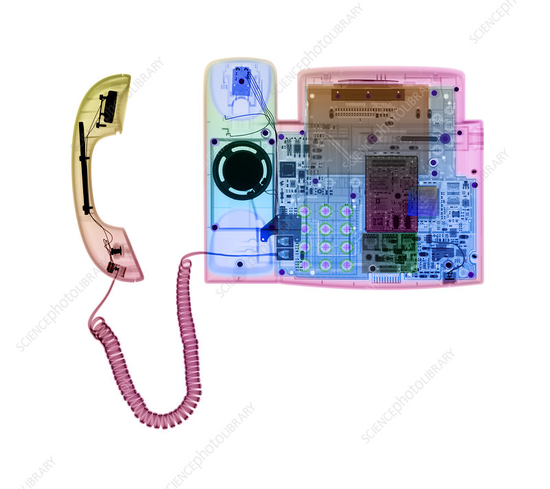 Telephone, coloured X-ray