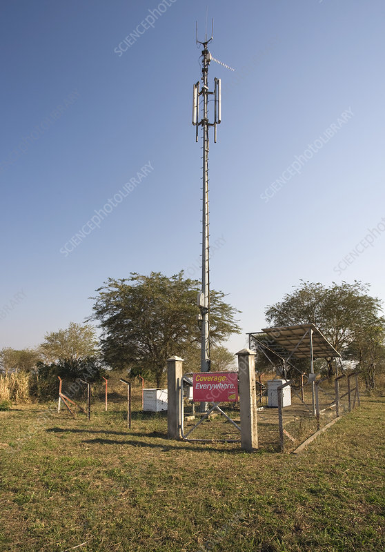 Solar powered mobile phone mast, Africa