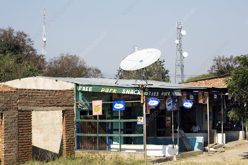 Telecommunications dish and mast, Africa