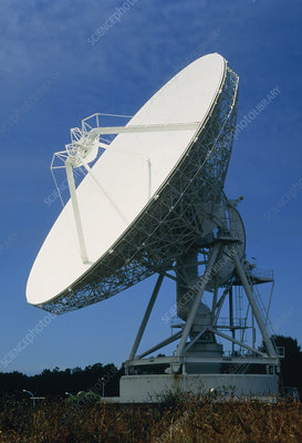 Satellite receiving dish, Brittany, France