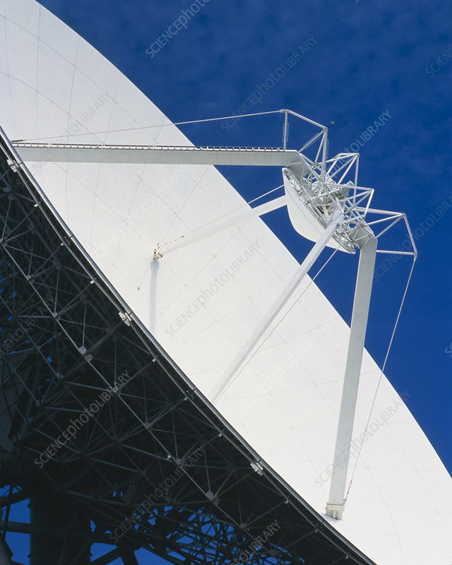 Close-up of satellite receiving dish