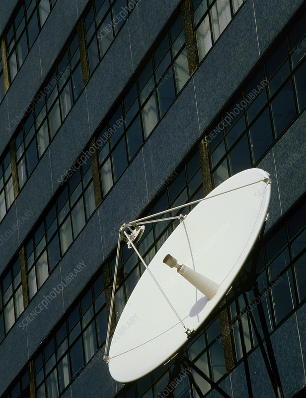 Satellite dish outside tower block in London