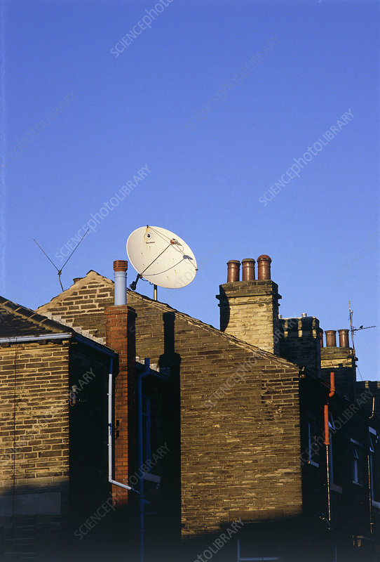 Satellite receiving dish of house roof