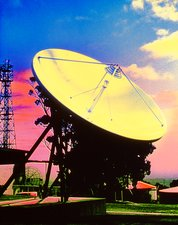 Coloured photo of a satellite dish