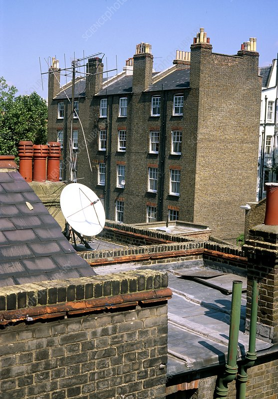 TV aerials and satellite dish on rooftops, London