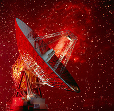 Composite image os Goldstone antenna & starfield