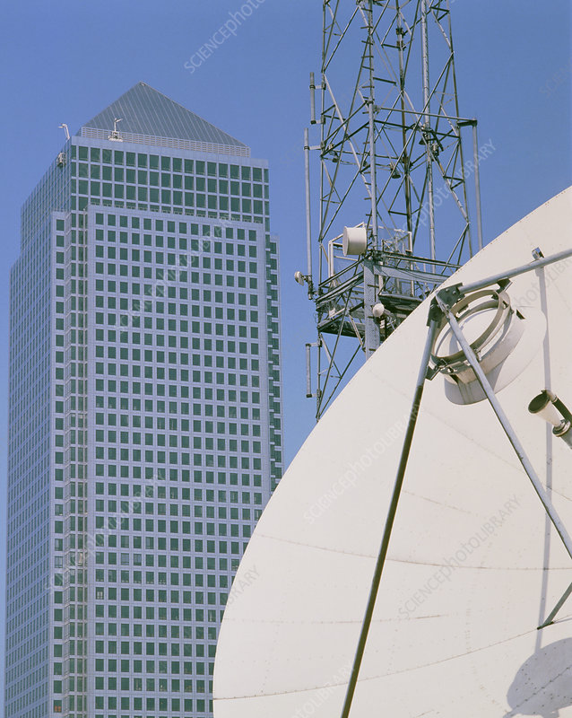 Communications dish, with Canary Wharf in b/ground