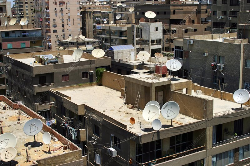 Satellite dishes on city rooftops