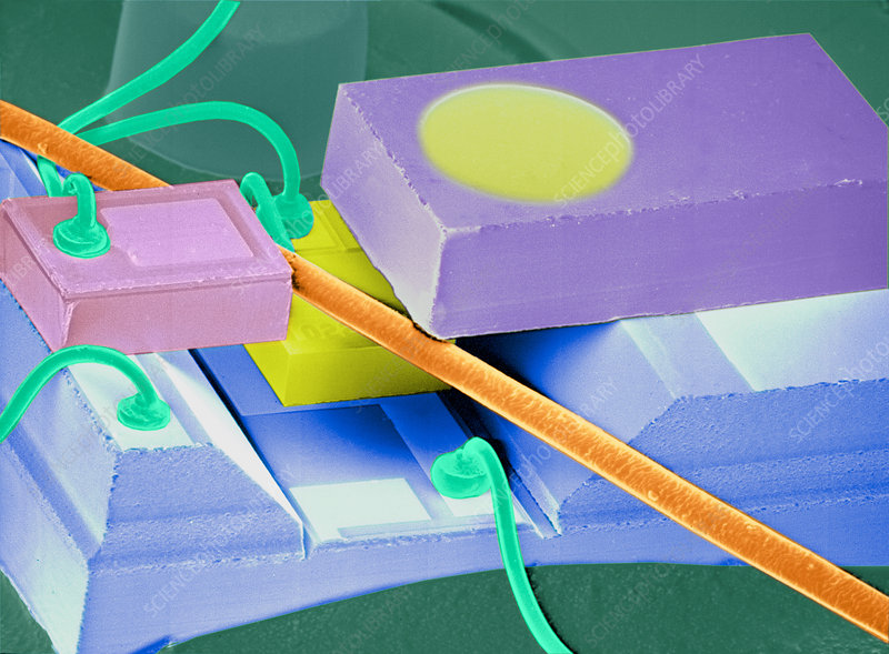 Coloured SEM of a laser unit for fibre optics