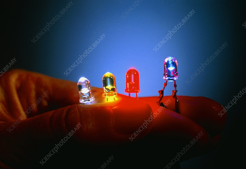 Different coloured Light Emitting Diodes (LEDs)
