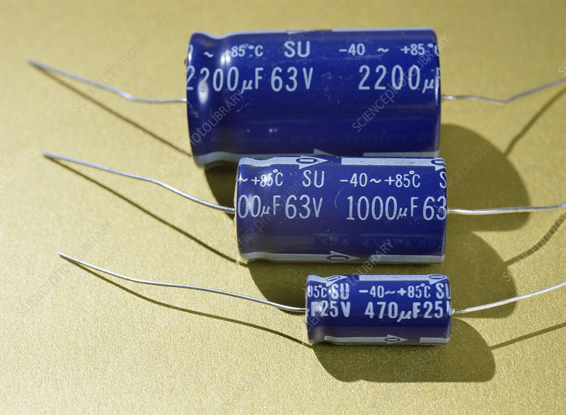 Three electrolytic capacitors