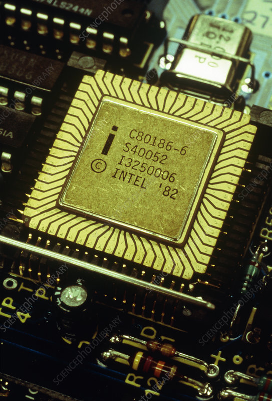 Close-up of Intel 186 chip of ORB computer