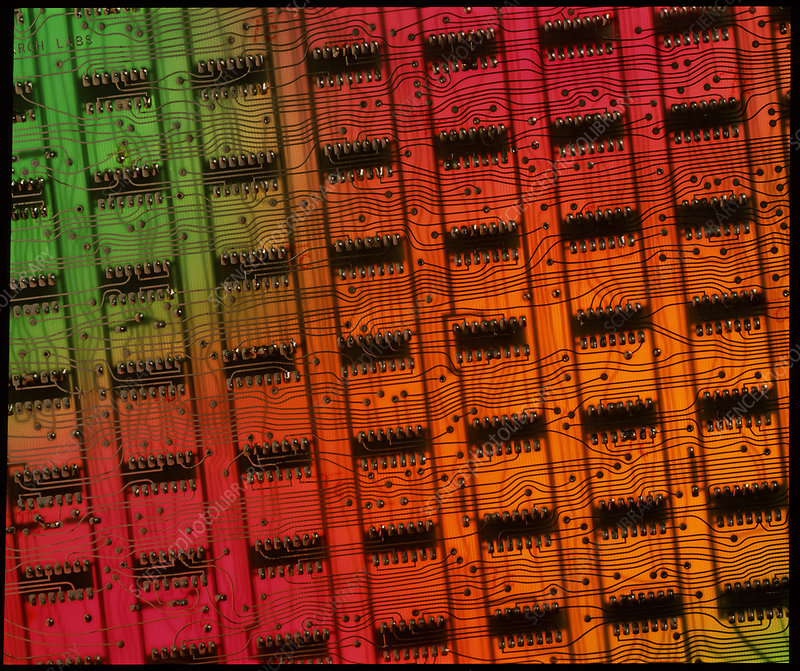 Rows of chips on computer memory circuit board