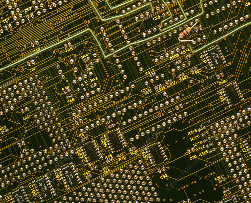 Close-up of back of modern computer circuit board